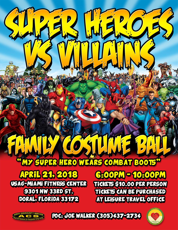 Super Heroes vs Villians Family Costume Ball