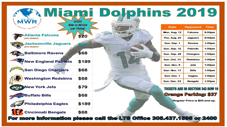 Miami Dolphins 2019 Season Tickets